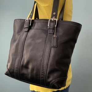 Coach Black Leather Shoulder Tote